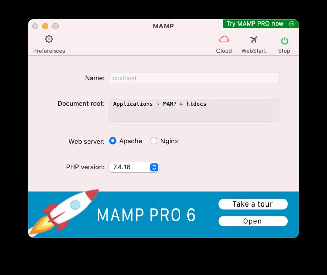 Reiniciar Apache MAMP